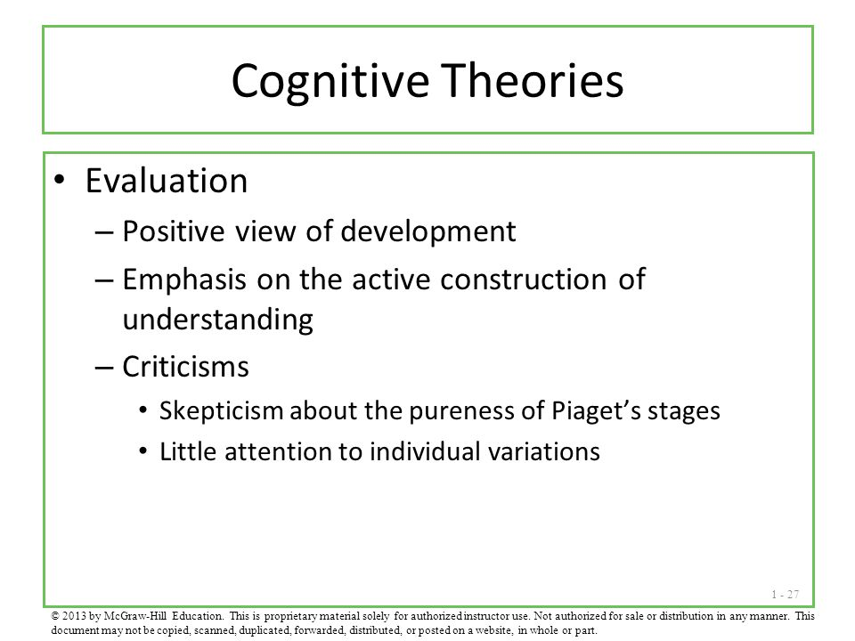 Cognitive Theories Evaluation Positive view of development