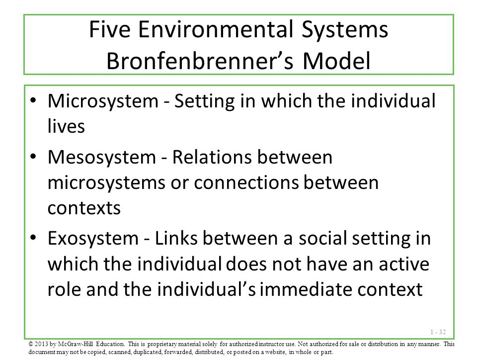 Five Environmental Systems Bronfenbrenner's Model