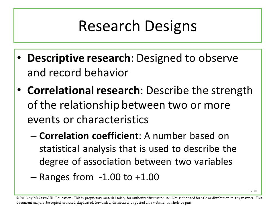 Research Designs Descriptive research: Designed to observe and record behavior.