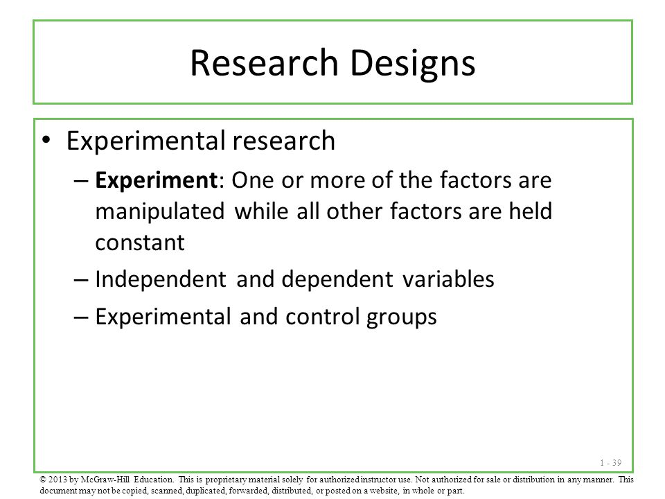 Research Designs Experimental research