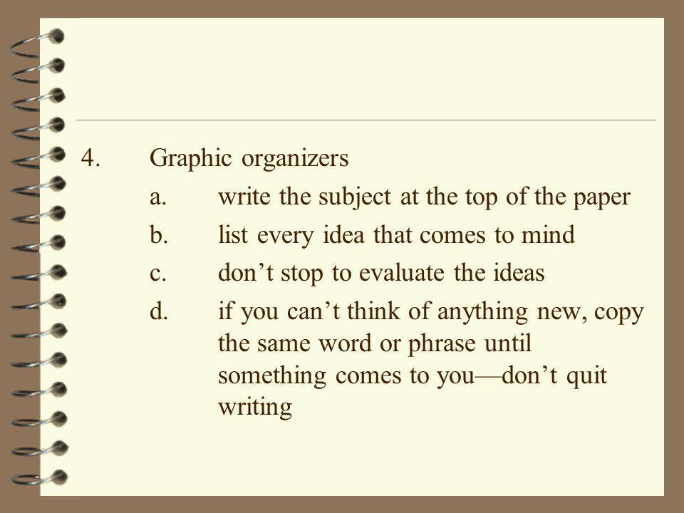 4. Graphic organizers a. write the subject at the top of the paper. b. list every idea that comes to mind.