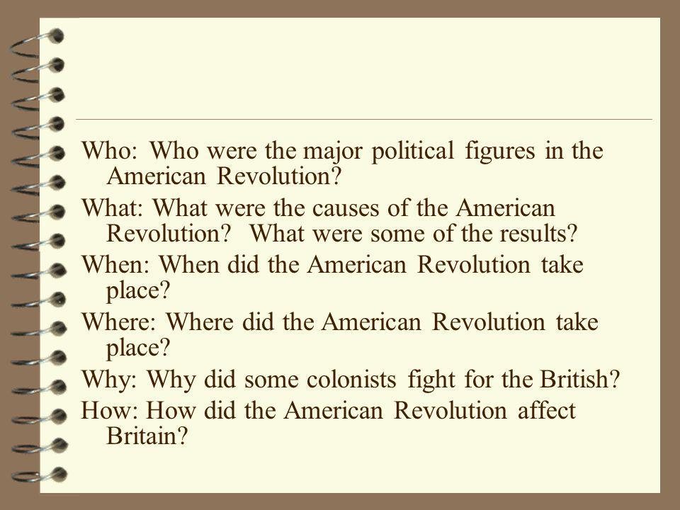 Who: Who were the major political figures in the American Revolution