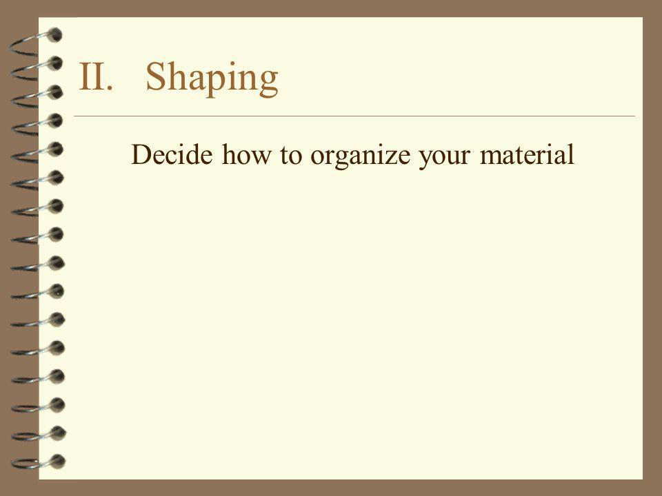 Decide how to organize your material