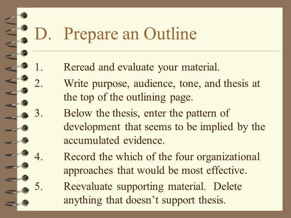 D. Prepare an Outline 1. Reread and evaluate your material.