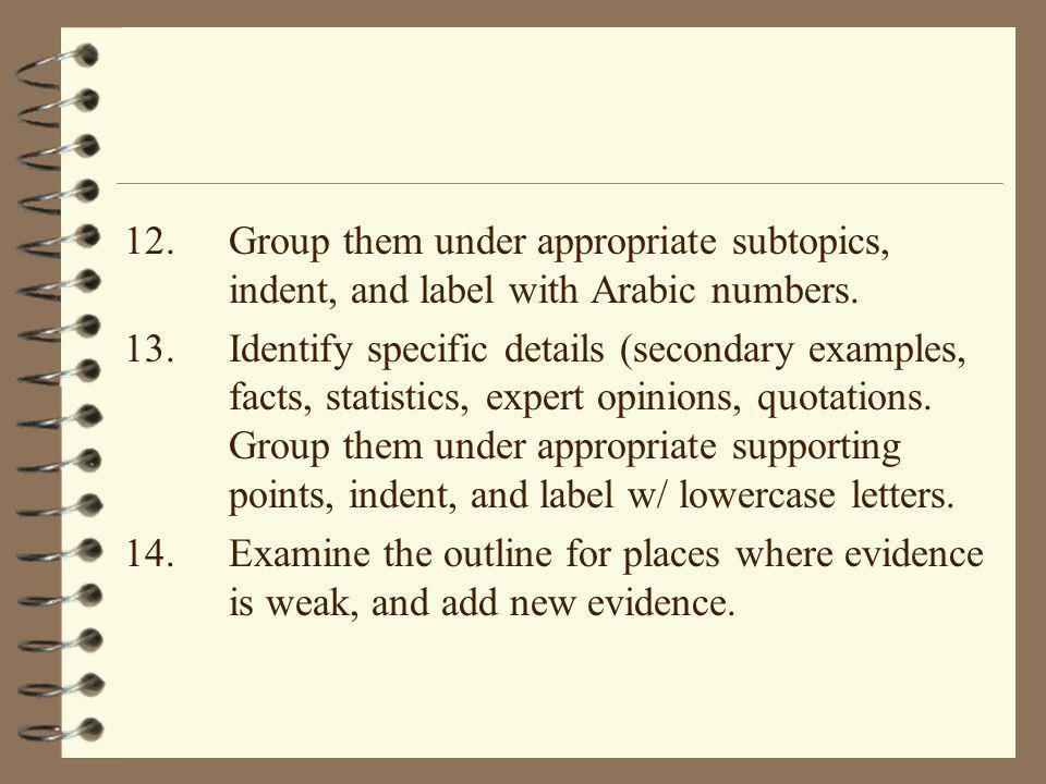 12. Group them under appropriate subtopics,