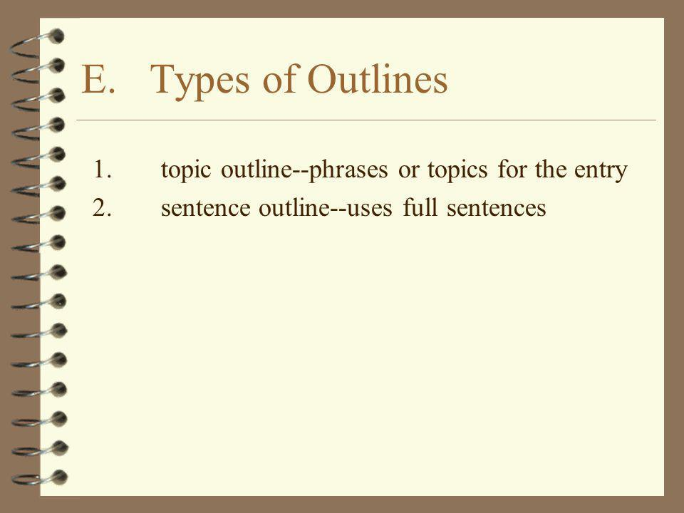 E. Types of Outlines 1. topic outline--phrases or topics for the entry
