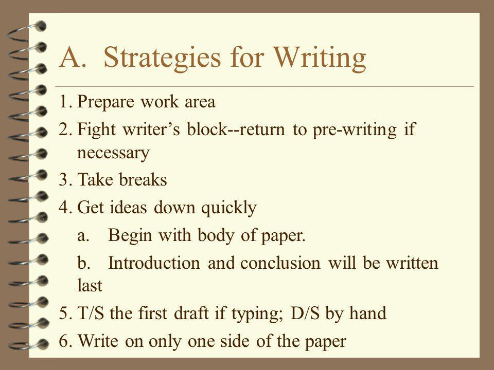 A. Strategies for Writing