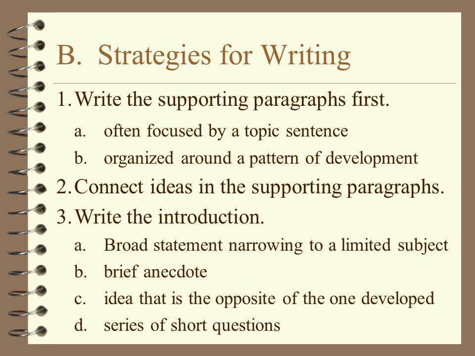 B. Strategies for Writing