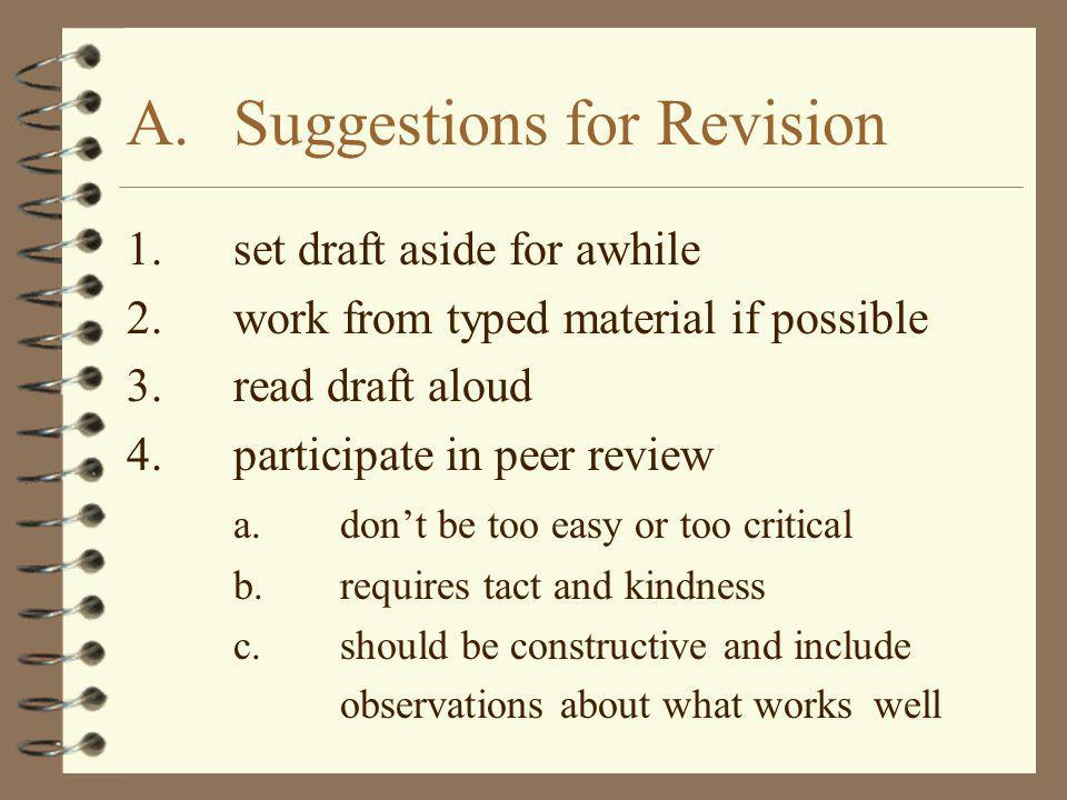 A. Suggestions for Revision