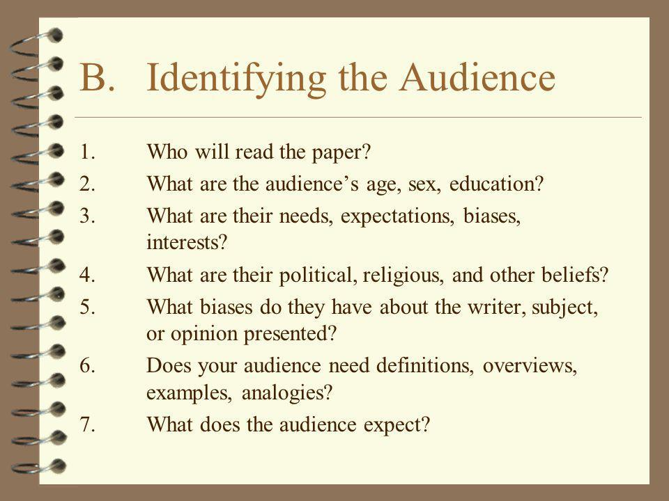 B. Identifying the Audience