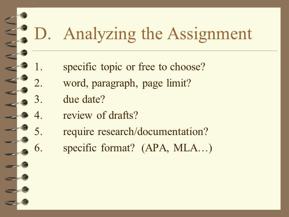 D. Analyzing the Assignment