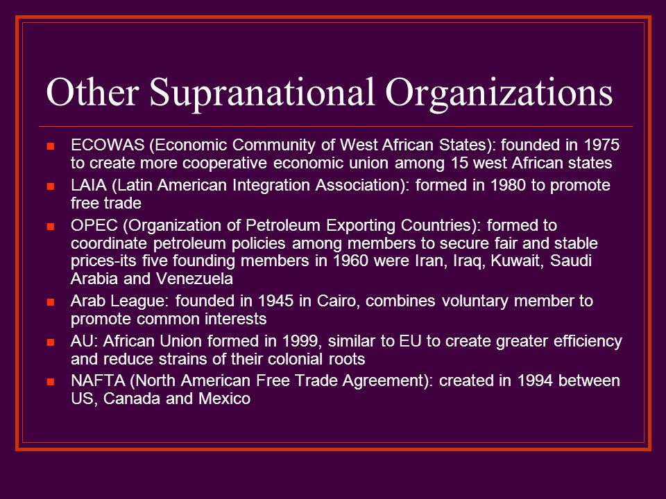 Other Supranational Organizations