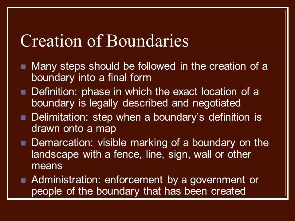 Creation of Boundaries