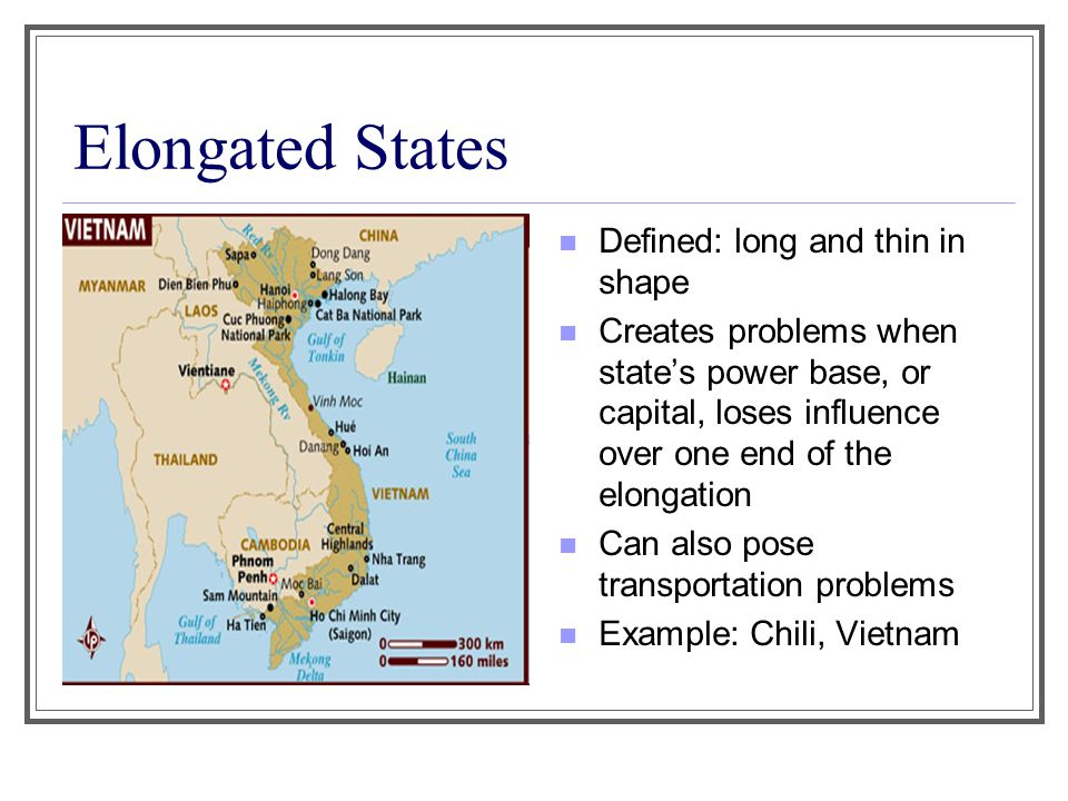 Elongated States Defined: long and thin in shape