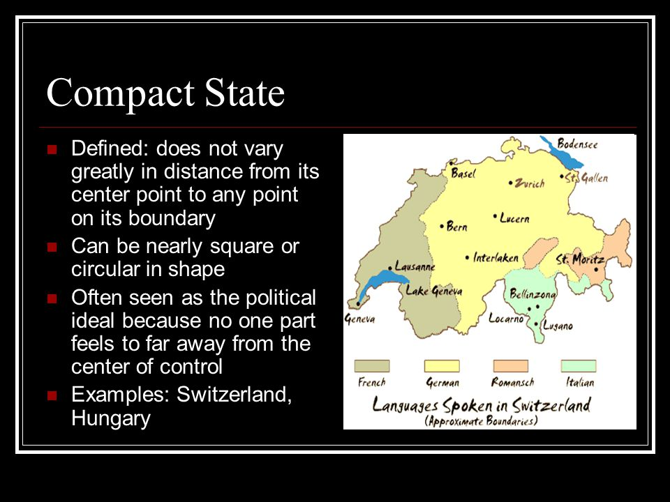 Compact State Defined: does not vary greatly in distance from its center point to any point on its boundary.