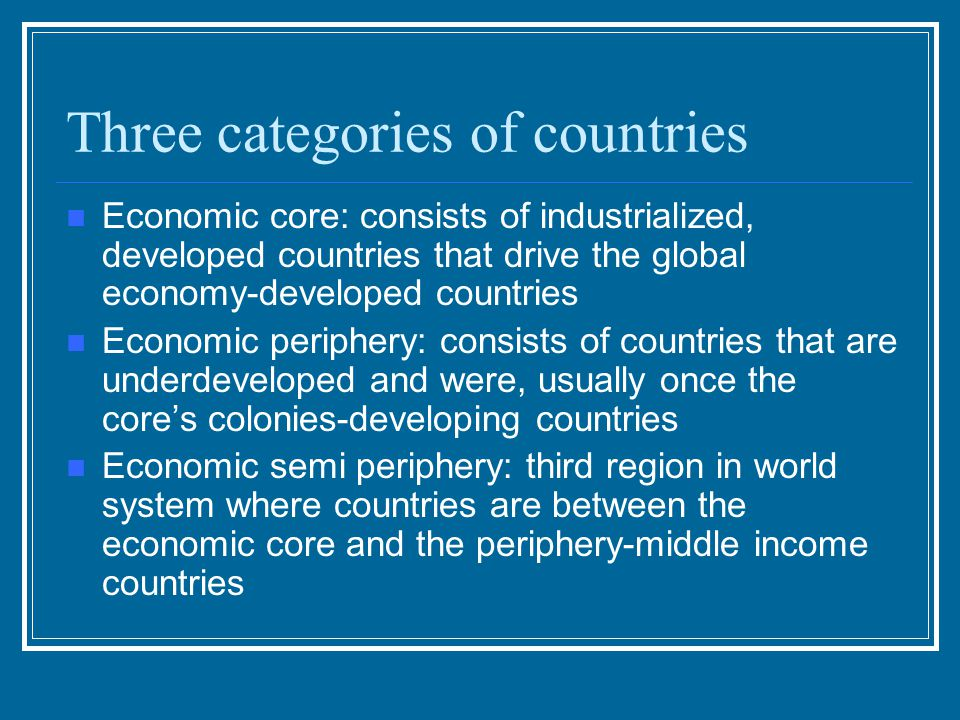 Three categories of countries