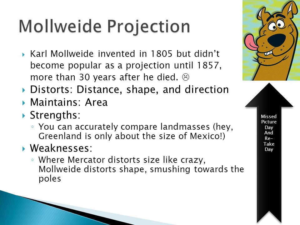 Mollweide Projection Distorts: Distance, shape, and direction