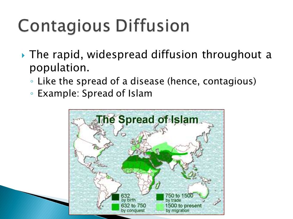 Contagious Diffusion The rapid, widespread diffusion throughout a population. Like the spread of a disease (hence, contagious)