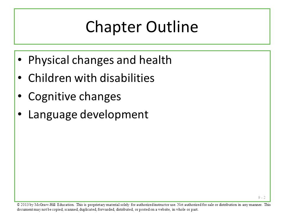 Chapter Outline Physical changes and health Children with disabilities