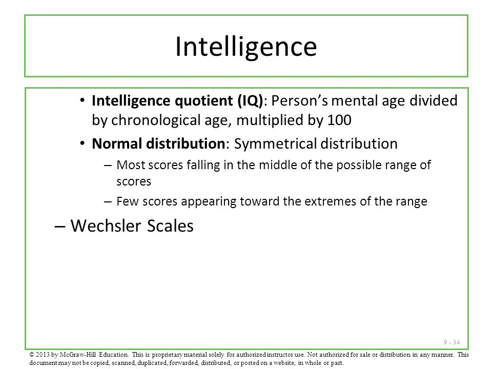 Intelligence Wechsler Scales
