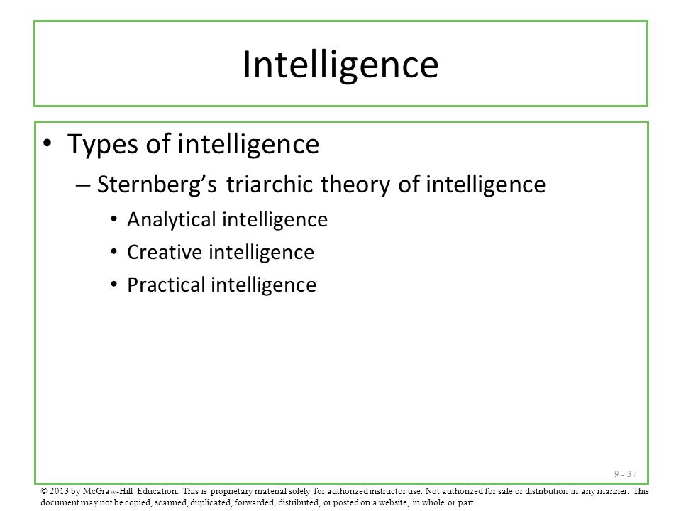 Intelligence Types of intelligence