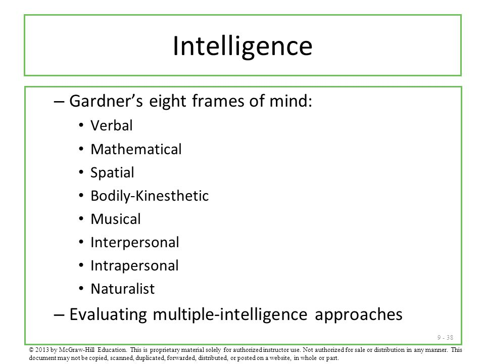 Intelligence Gardner's eight frames of mind: