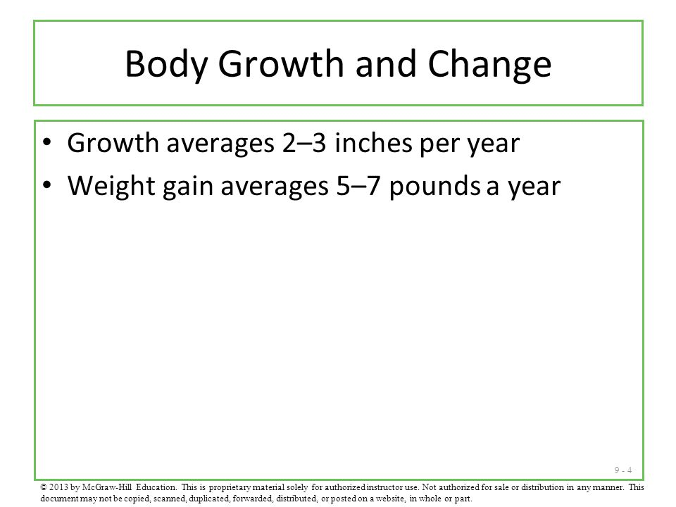 Body Growth and Change Growth averages 2–3 inches per year