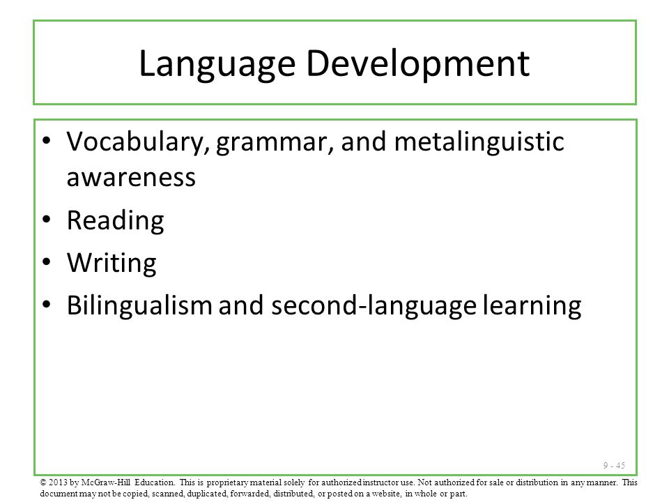 Language Development Vocabulary, grammar, and metalinguistic awareness