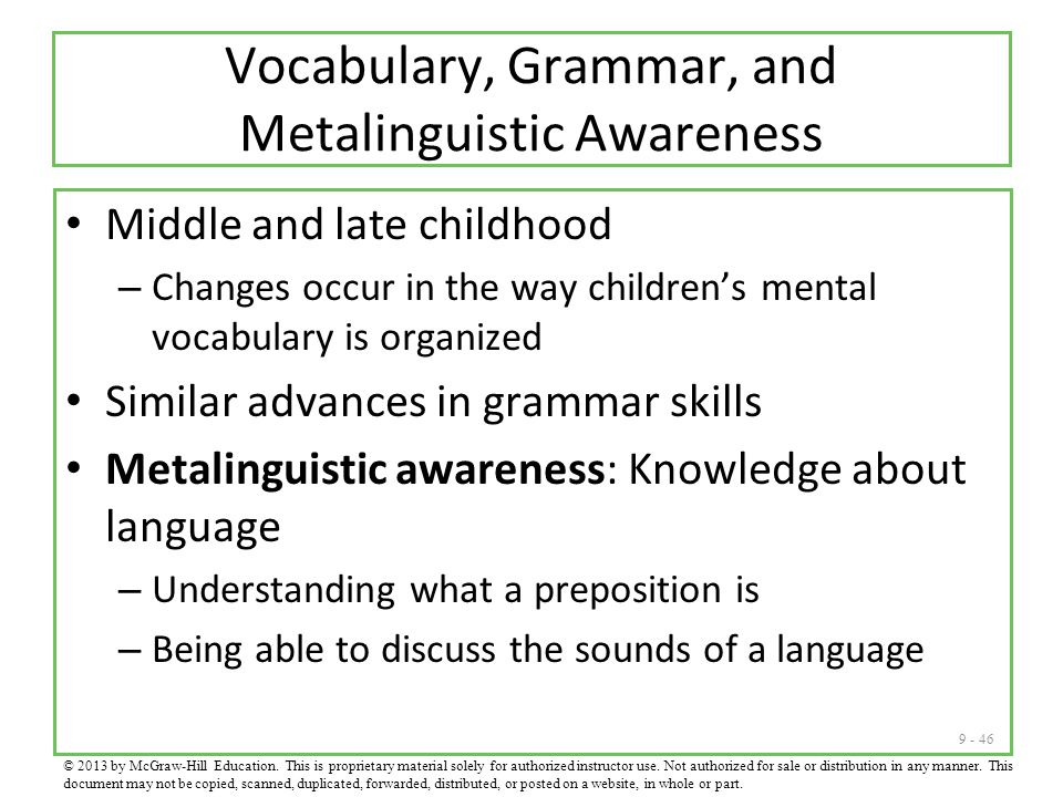 Vocabulary, Grammar, and Metalinguistic Awareness