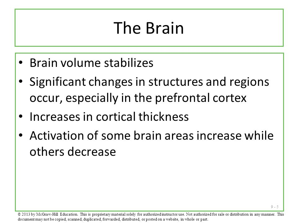 The Brain Brain volume stabilizes