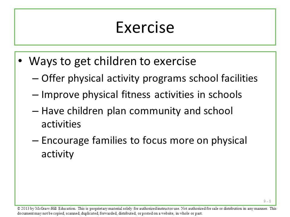Exercise Ways to get children to exercise