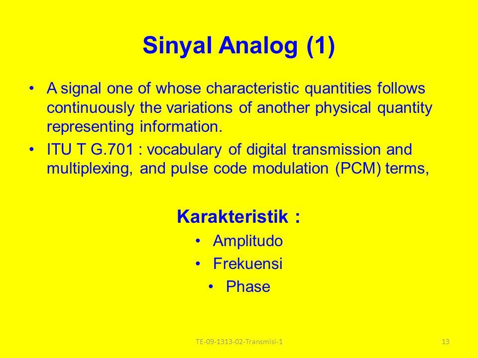 Sinyal Analog (1) Karakteristik :