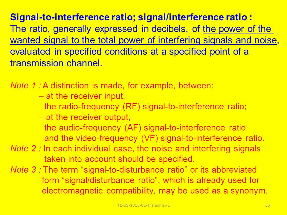 Signal-to-interference ratio; signal/interference ratio :