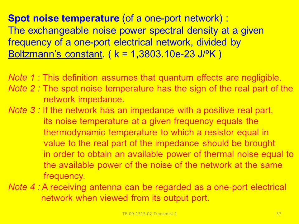 Spot noise temperature (of a one-port network) :