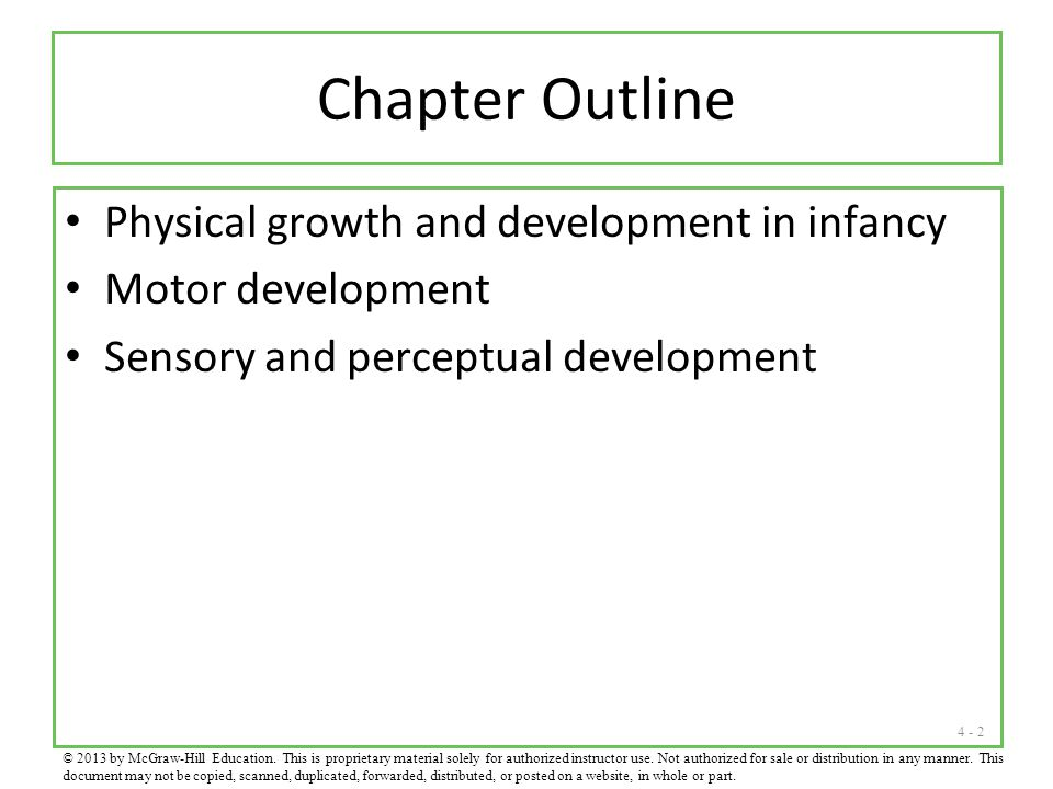 Chapter Outline Physical growth and development in infancy