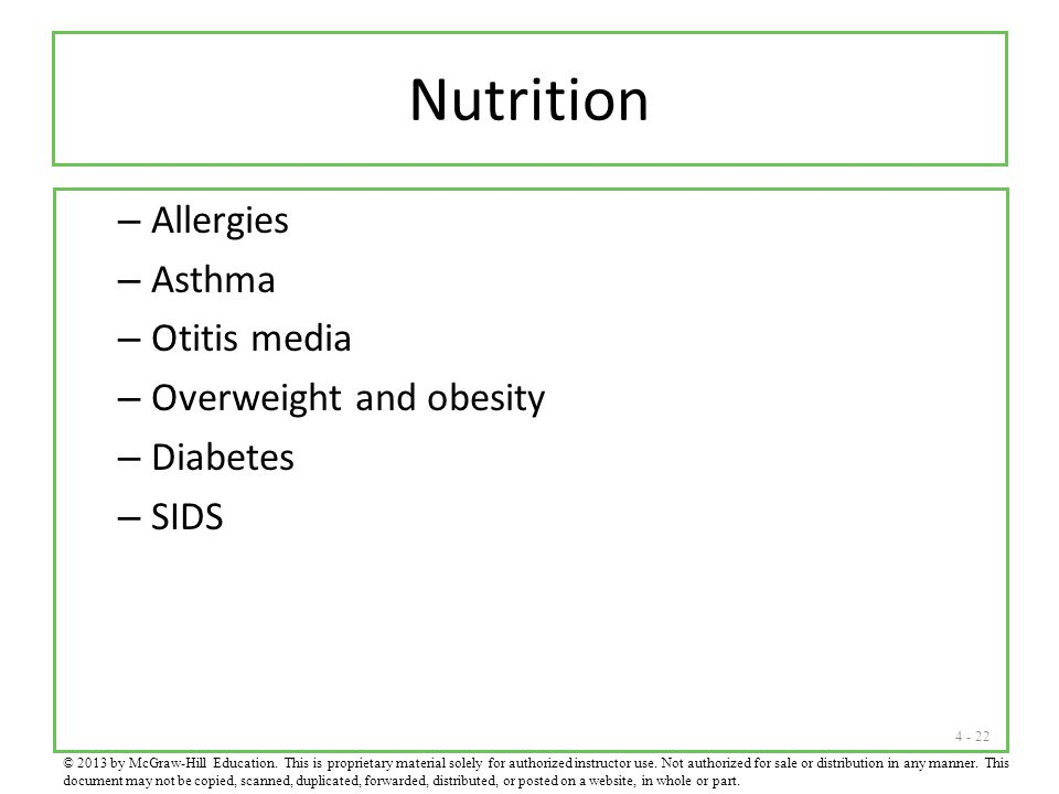 Nutrition Allergies Asthma Otitis media Overweight and obesity