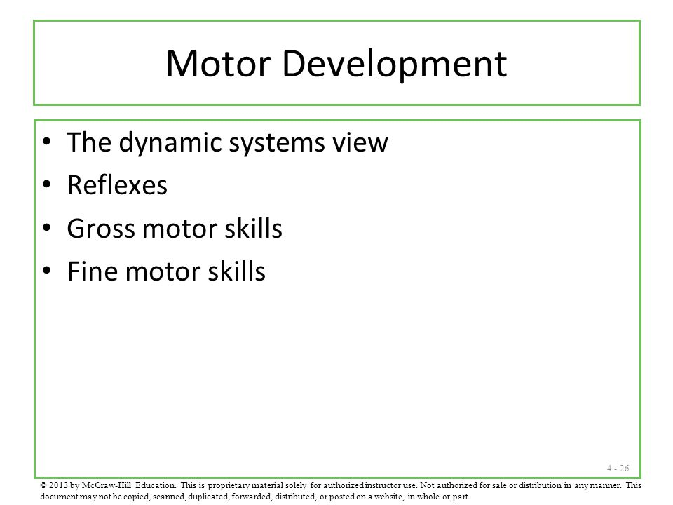 Motor Development The dynamic systems view Reflexes Gross motor skills