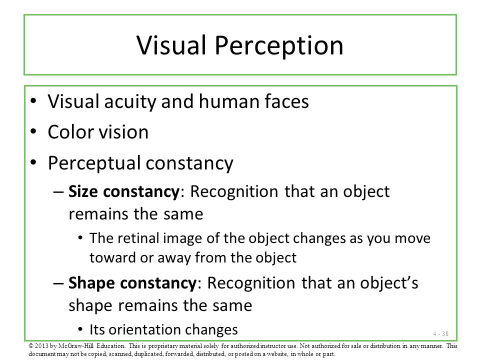 Visual Perception Visual acuity and human faces Color vision