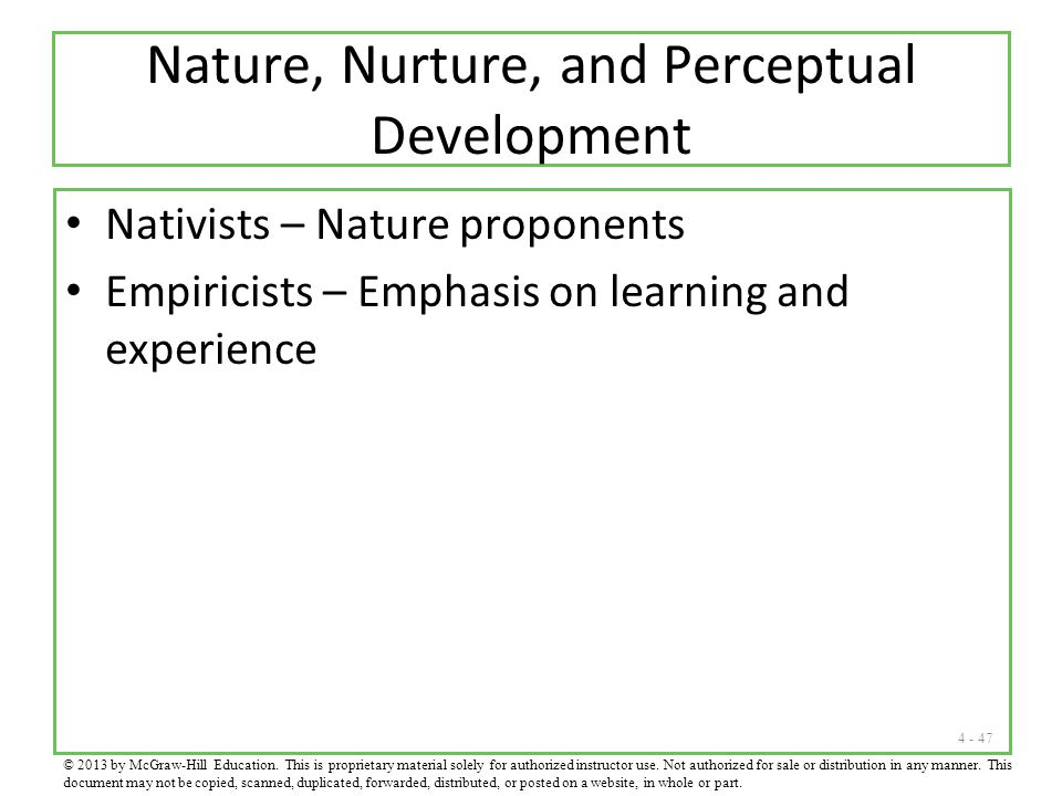 Nature, Nurture, and Perceptual Development