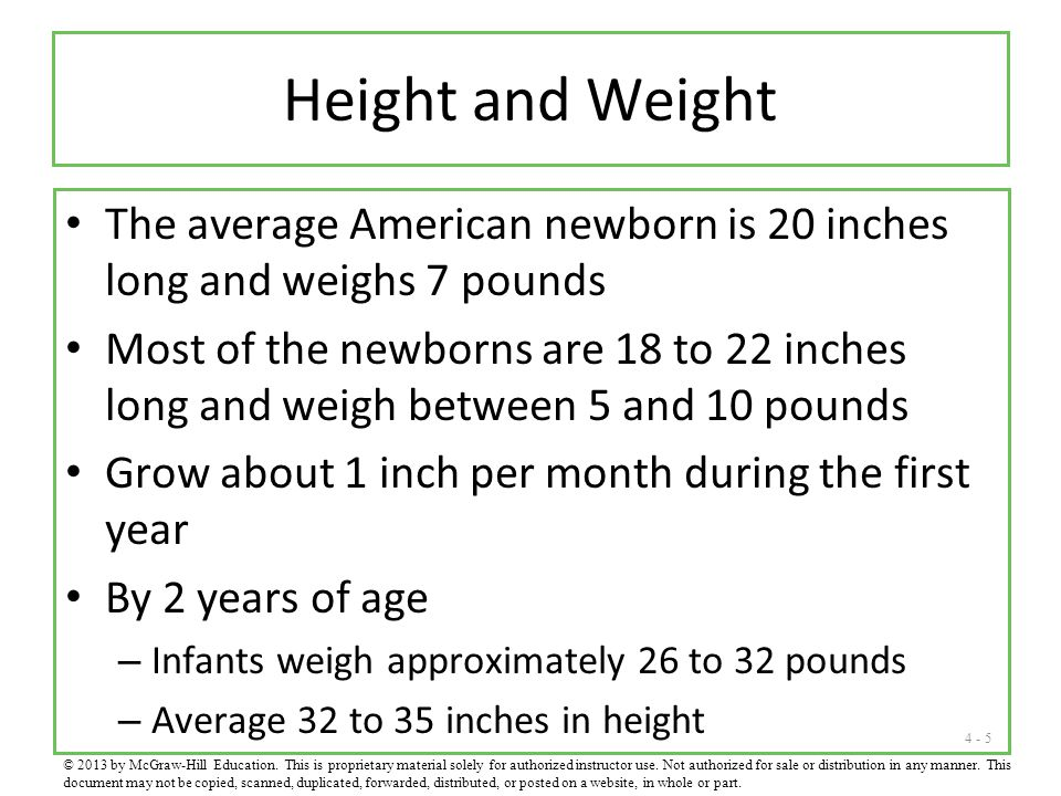Height and Weight The average American newborn is 20 inches long and weighs 7 pounds.
