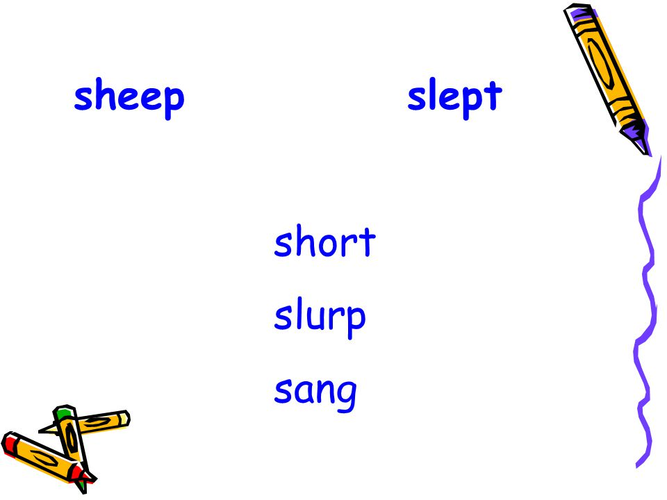 sheep slept short slurp sang