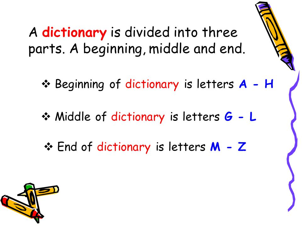 A dictionary is divided into three parts. A beginning, middle and end.