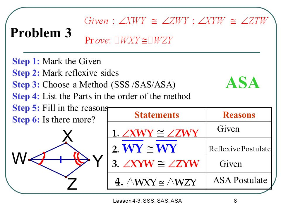 ASA X W Y Z Problem 3 Step 1: Mark the Given