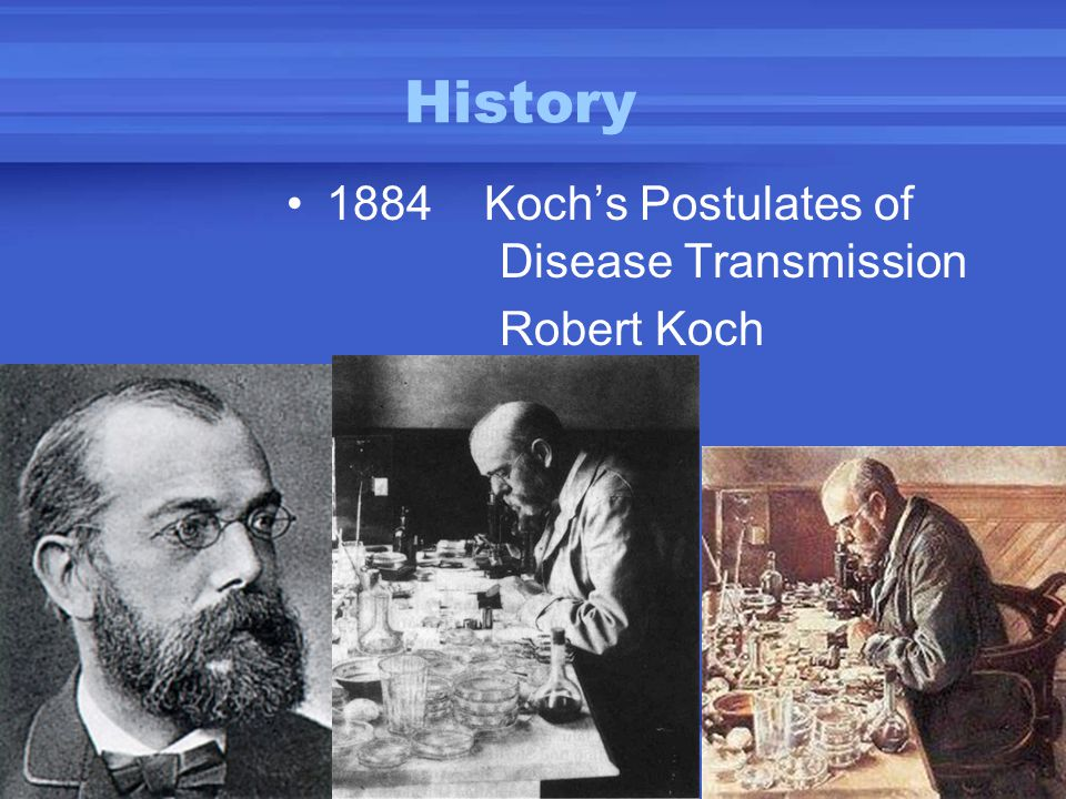 History 1884 Koch's Postulates of Disease Transmission Robert Koch