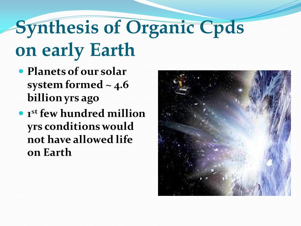 Synthesis of Organic Cpds on early Earth