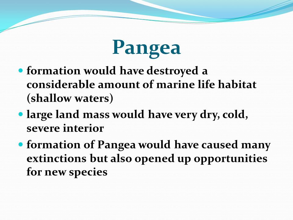Pangea formation would have destroyed a considerable amount of marine life habitat (shallow waters)