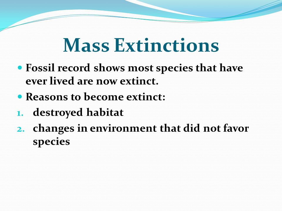 Mass Extinctions Fossil record shows most species that have ever lived are now extinct. Reasons to become extinct: