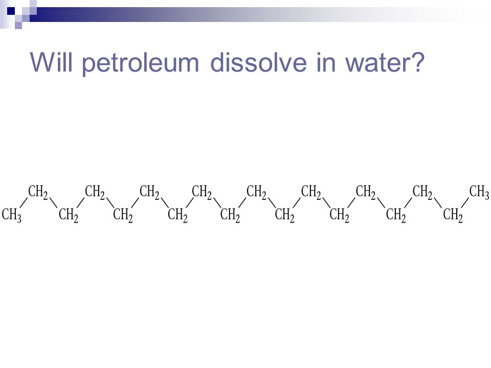 Will petroleum dissolve in water