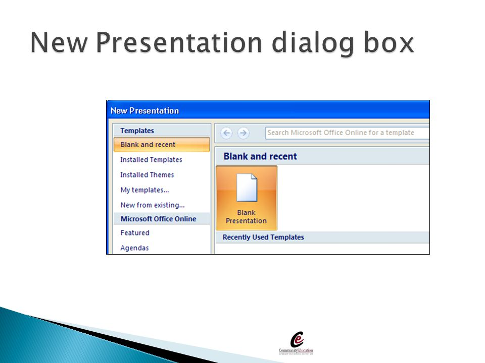New Presentation dialog box