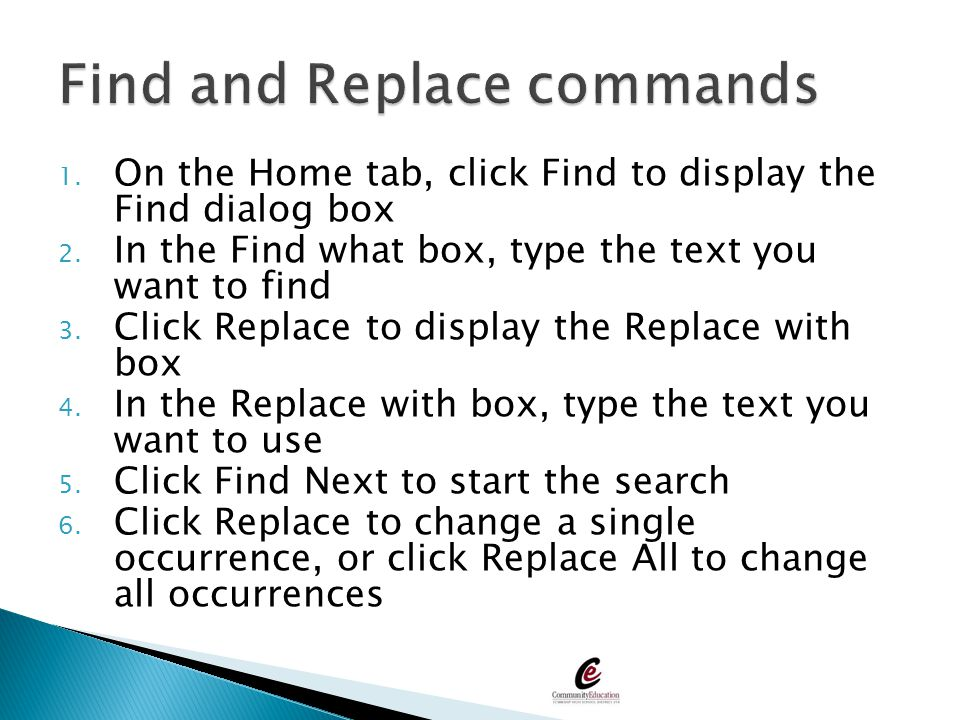 Find and Replace commands
